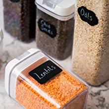 Airtight food storage containers, plastic containers, pantry storage, pantry containers