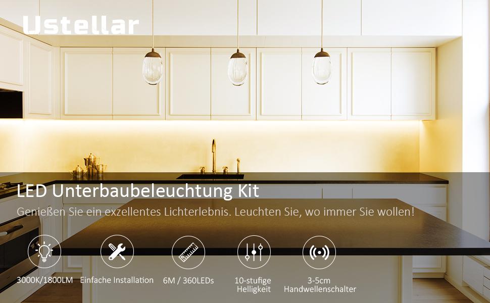 Ustellar 6M LED Streifen Dimmbar LED Strip Band Tageslichtwei/ß mit Handwelleschalter Netzteil LED Leiste Lichtleiste Lichtband 1800LM 12V 360LEDs k/ürzbar f/ür Unterbauleuchte K/üche Schrankbeleuchtung