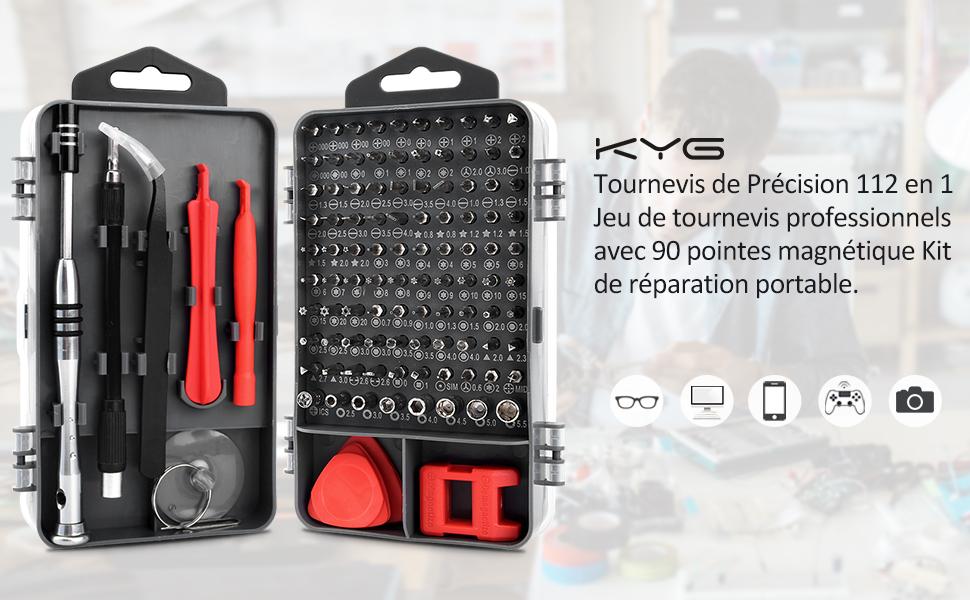 KYG Tournevis de Précision 112 en 1 Jeu de Tournevis Professionnels avec 90 P...