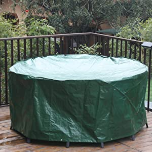 Garden Round Covers For Patio Table And Chairs Set Extra Large 190x80cm Green Outdoor Furniture Set Cover Circular Waterproof Tables