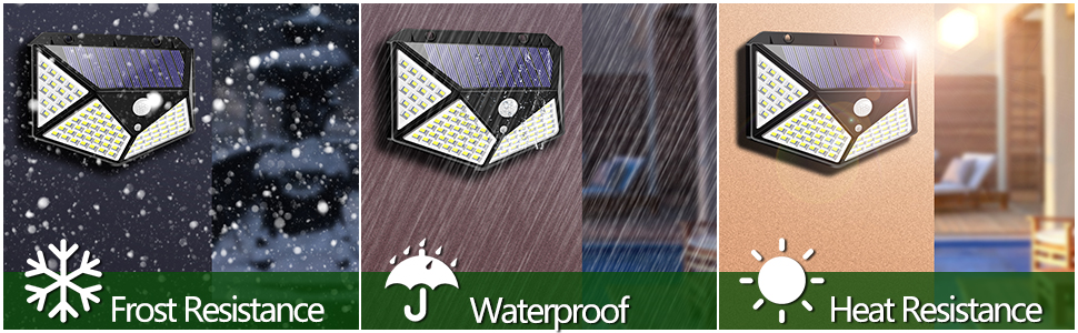 Solar Powered Motion Sensor Lights 100 LEDs Outdoor Waterproof Wall Light Night Light