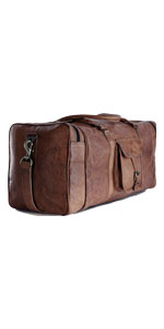 Leather duffel bag large 24 Inch Square Duffel Travel Gym Sports Overnight Weekender Leather Bag