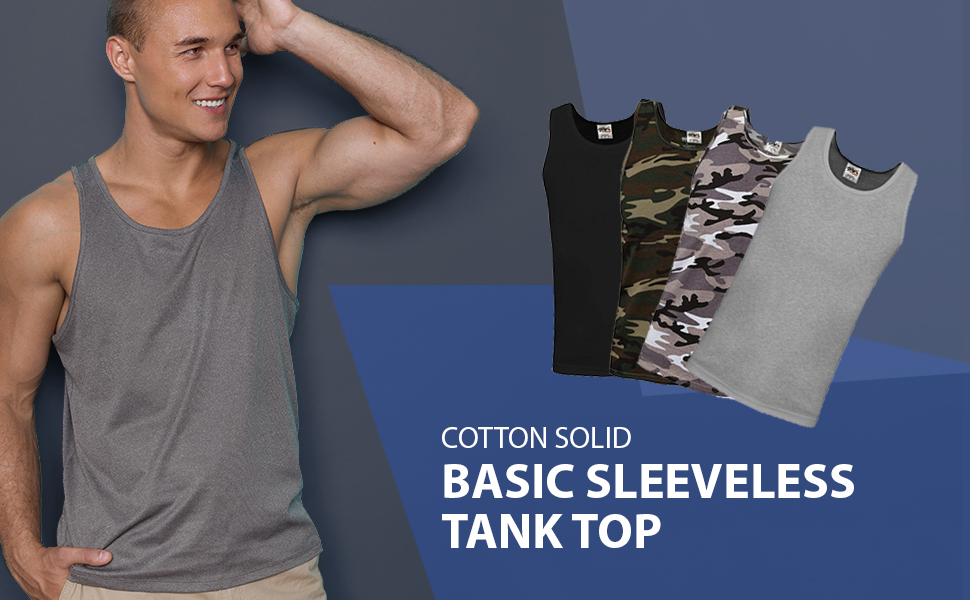 Shaka Wear Mens Basic Sleeveless Tank Top Cotton Solid Muscle Workout T-Shirt Undershirt Activewear Sizes S~5XL
