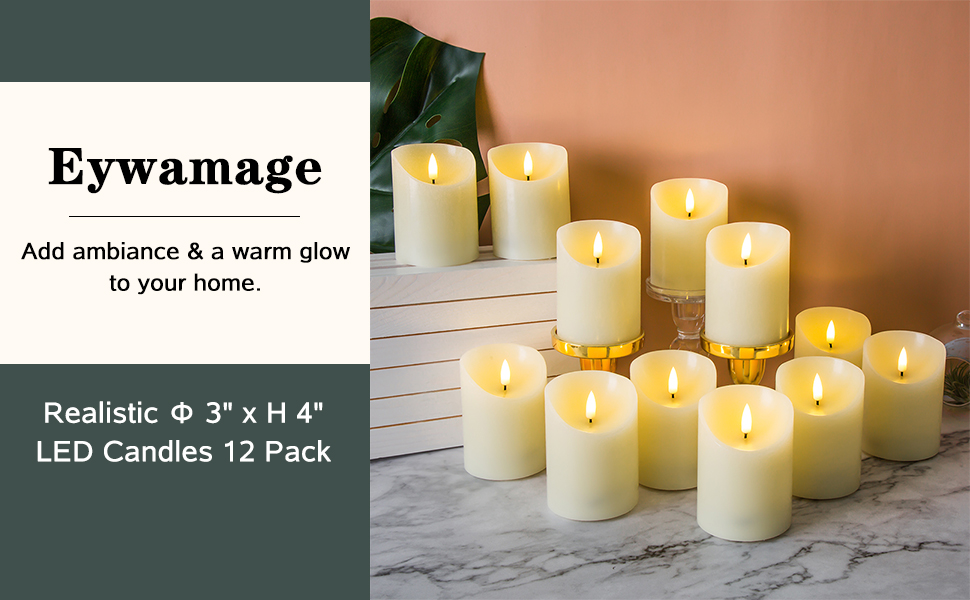 flameless pillar candles with remotes 3 inch diameter, 4 inch tall