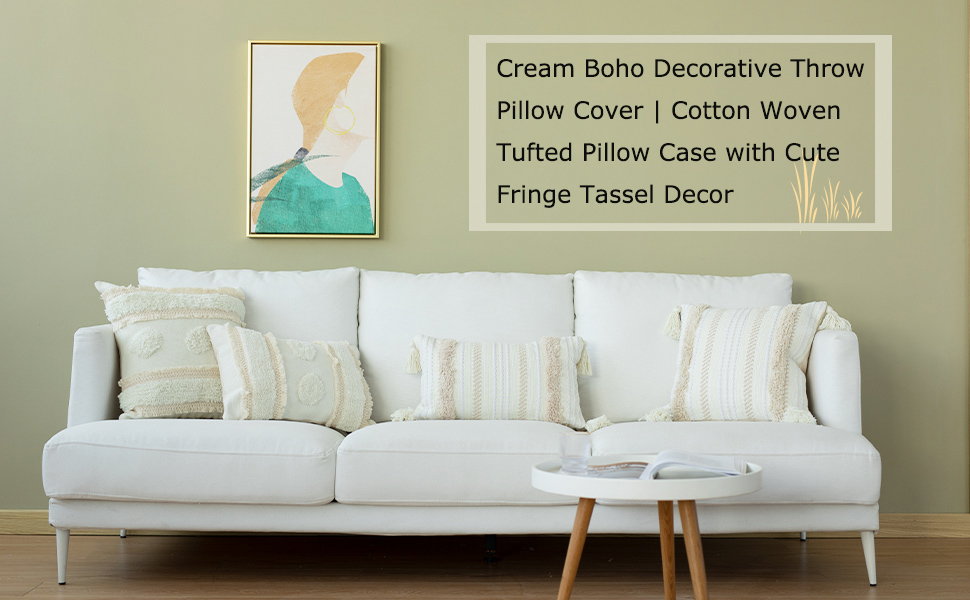 tribal tassels throw lumbar pillow cover fringe boho morocco long pillowcase cream beige white