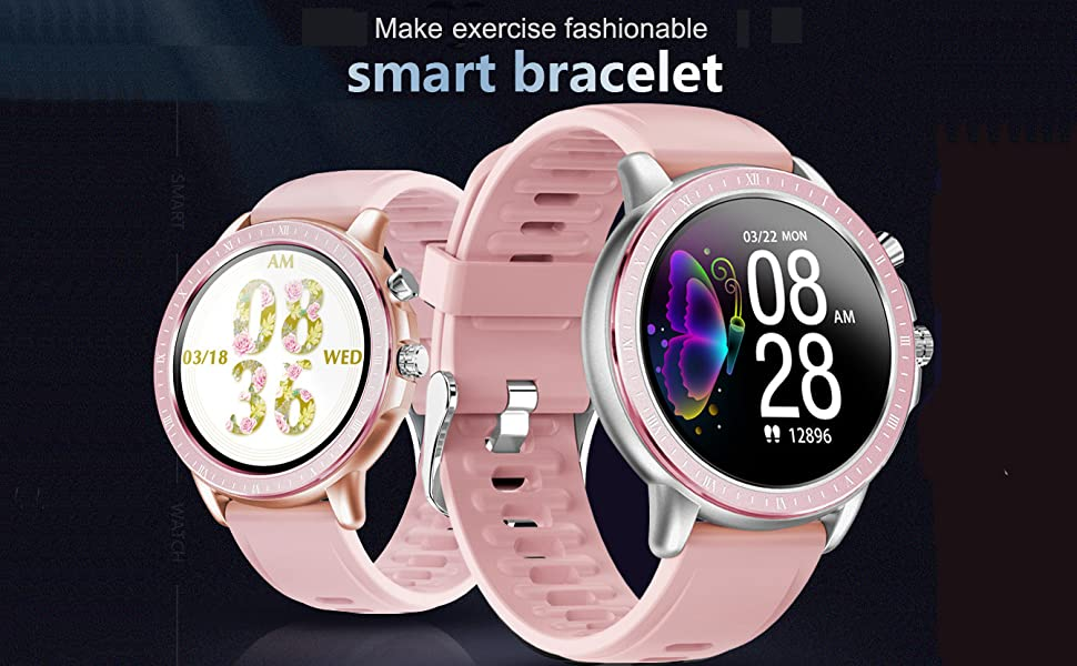 smart watch for ios android phone womens smartwatch heart rate blood pressure pedometer fitness