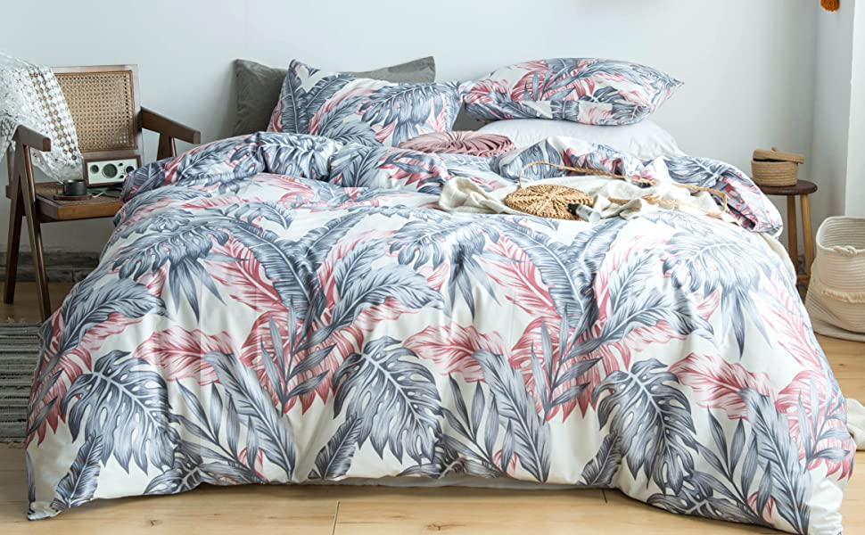 pink grey leaves print duvet comforter cover set