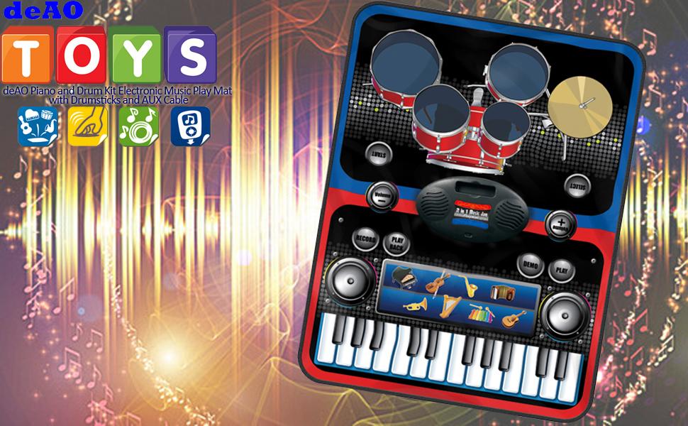deAO - Alfombrilla de Juego con Teclado y Tambores - Juego de música electrónica 2 en 1 con Baquetas y Cable AUX