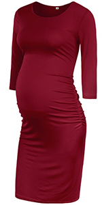 Maternity 3/4 Sleeve Ruched Dress