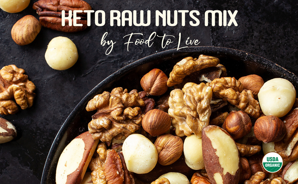 healthy mix of raw nuts, food to live