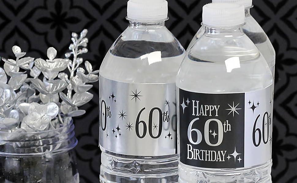 Etiquetas Metálicas Para Botella De Agua Para 60 Cumpleaños 24 Pegatinas Health Personal Care