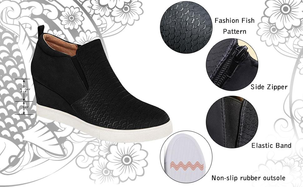Women's Platform Sneakers Hidden Wedges Side Zipper Faux Suede Perforated Ankle Booties Hidden Wedge
