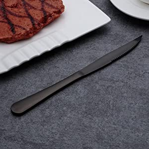 6-Pieces Stainless Steel Steak Knives Set (Black)