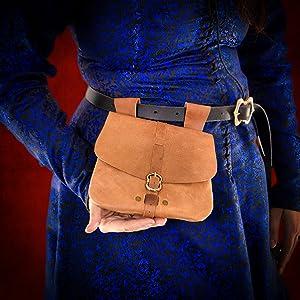 Mythrojan WOW leather reenactment bag SCA LARP ELF knight medieval D&D renaissance pouche renfair