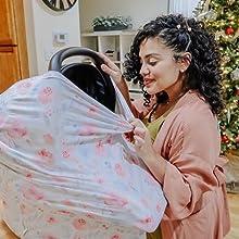 couverture d'allaitement auvent de siège auto multi usage écharpe d'allaitement housse de poussette