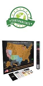 Earthabitats Scratch Off USA Map