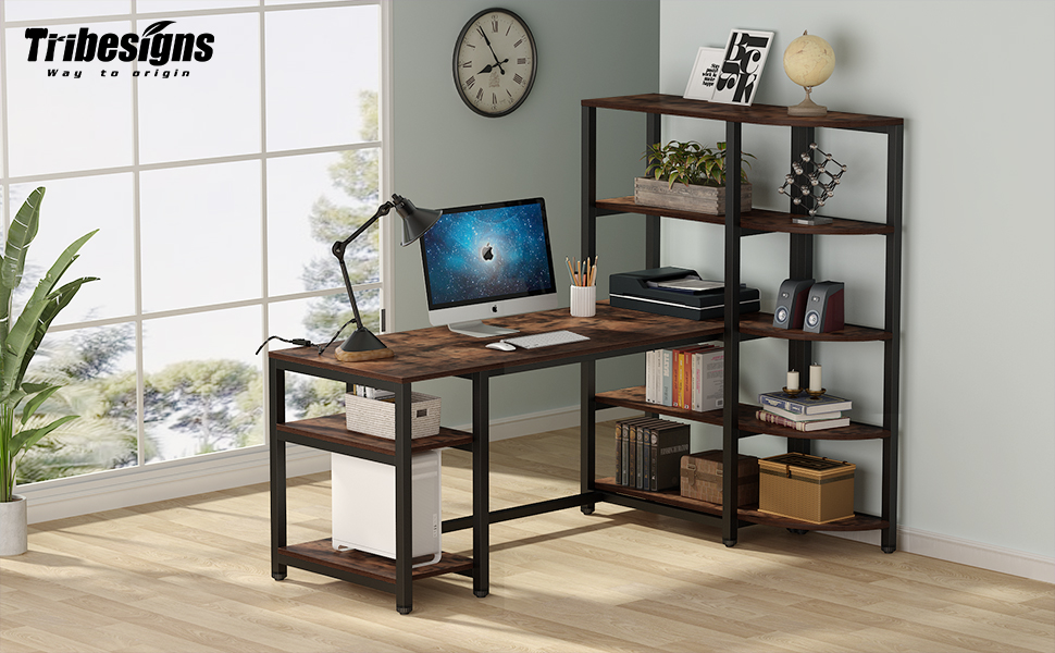 Tribesigns modern l shaped computer desk, office desk, study writing desk rustic brown