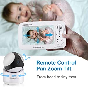 Babysense V65 video Baby Monitor PTZ Pan Tilt zoom