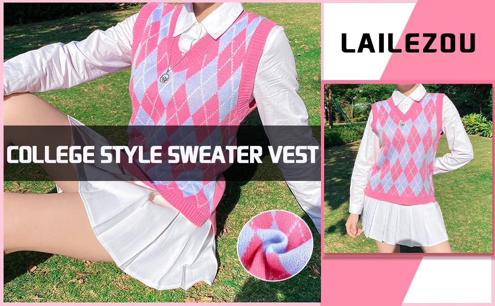 V-neck plaid sweater vest College style sweater vest