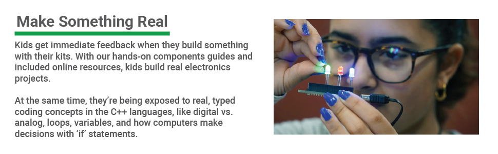 Let's Start Coding electronics make for instant feedback as kids learn how code controls them.