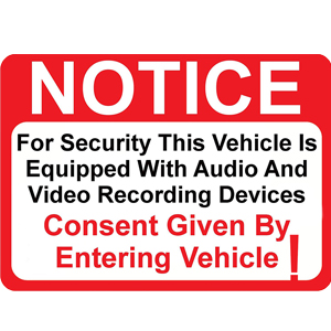 Notice Vehicle is Equipped with Audio and Video Recording Devices