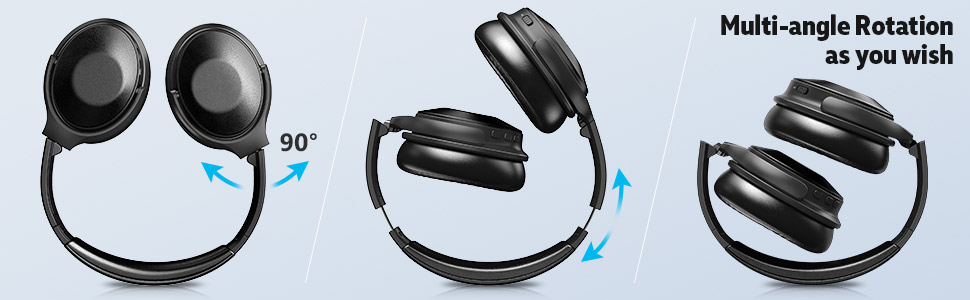 Wireless Headphones Over Ear Comfortable Protein Earpads 30 Hours Playtime for Travel Work Black