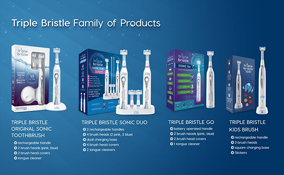 Triple Bristle Amazon Enhanced Content Image - Family of Products 01