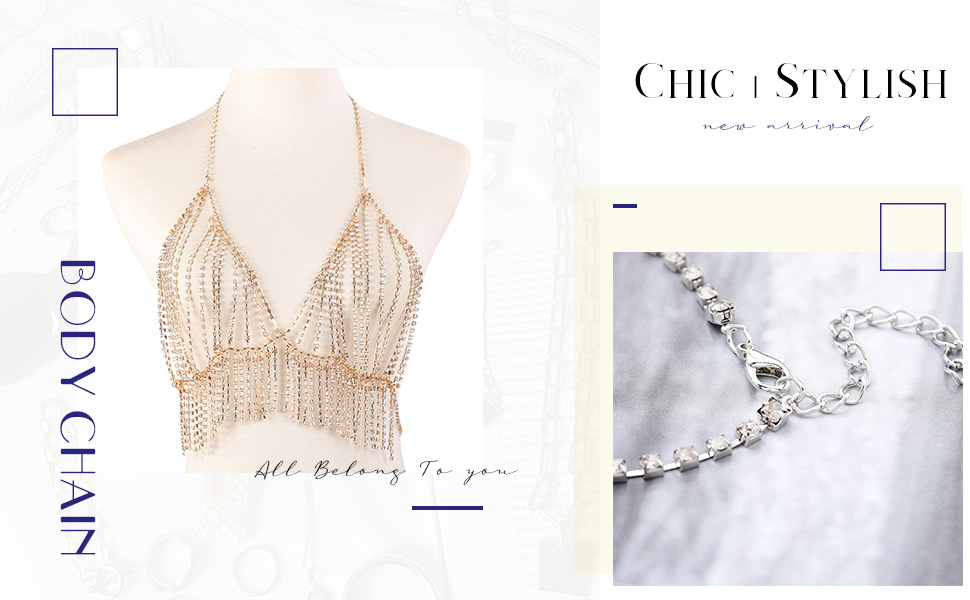 Gold or Silver Chic Crystal Body Chain