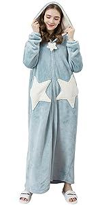 YAOMEI Unsex Mens Womens Dressing Gown Full Length Bathrobe Robe Nightwear Sleepwear Pyjamas