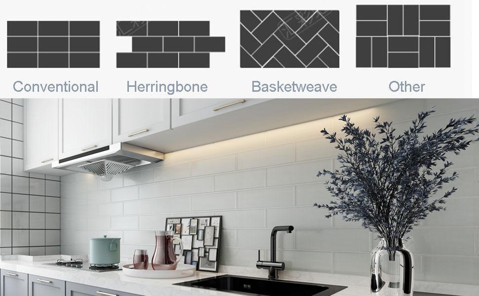 Diflart 4x12 Inch Glass Subway Tiles Backsplash For Kitchen Bathroom 5 Sqft Pack Of 15
