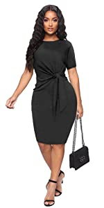 Tie Waist Bodycon Midi Dress