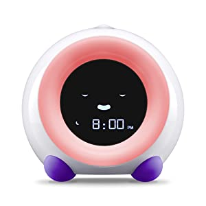 Bright Purple MELLA Sleep Trainer on Sleep Mode with White Night Light