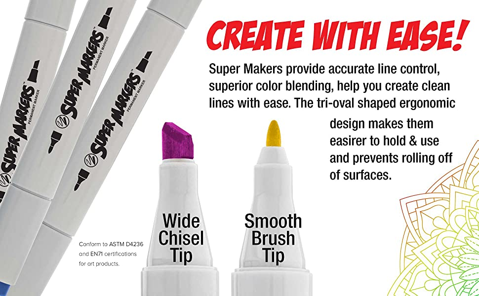 Super Markers Professional Superior Artist Quality Double-Ended Permanent Art Markers