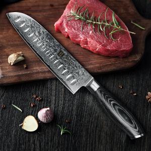 XINZUO Cuchillo de Santoku Cocina 17,8cm de Acero Damasco Japonés 67 Capas Profesional Cuchillo de Chef con Pakkawood Mango - Ya Serie