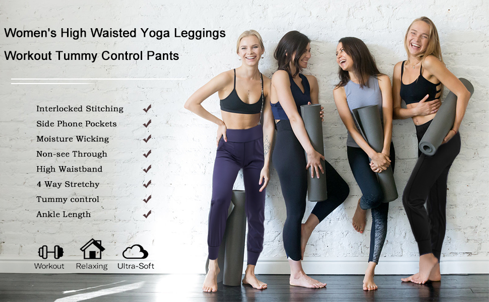 Women's Yoga Pants with 2 Pockets, Non See-Through High Waist Tummy Control 4 Way Stretch Leggings