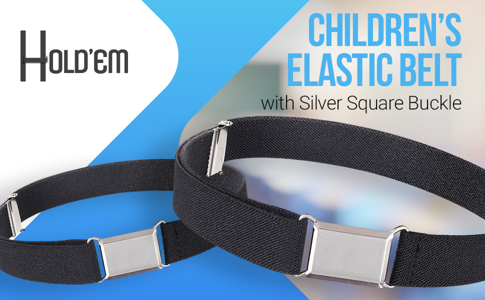 Fineday Kids Toddler Belt Elastic Adjustable Stretch Unisex Belts Silver Square Buckle Belt Clothing Shoes /& Accessories
