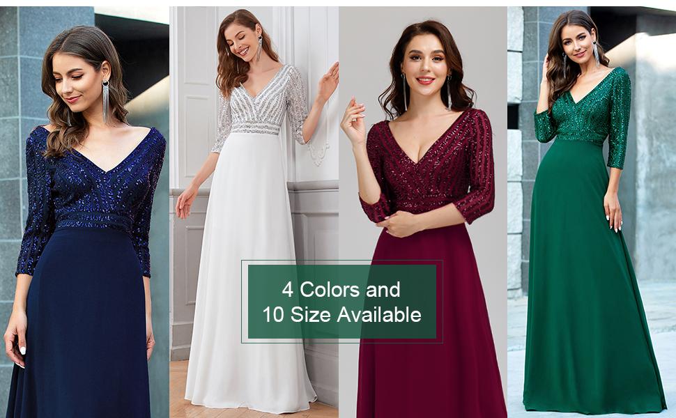 Ever Pretty Elegant Burgundy A-line Chiffon Deep V-neck Green Formal Party Gowns for Weddings