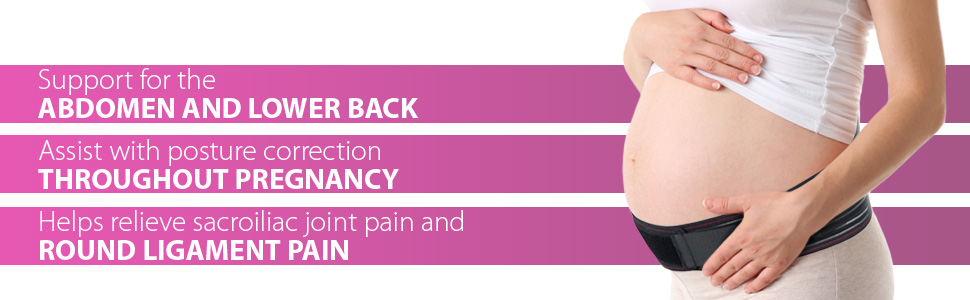 Sciatica Pain Relief Abdomen S-M Black Pelvic ORTONYX Maternity Support Belt Pregnancy Brace Hip Back