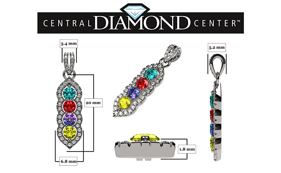 Halo Tower Mother's Necklace w/ 3 to 6 Simulated Birthstones in Silver, 10K, or 14K Gold