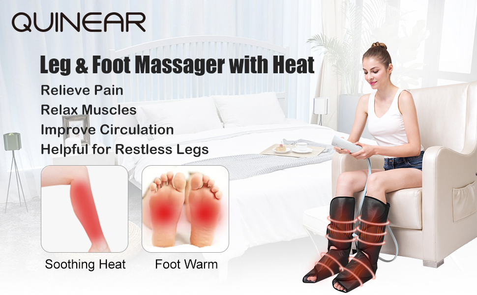 Amazon.com: QUINEAR Leg Massager with Heat Air Compression Massage for Foot  & Calf Helpful for Circulation and Muscles Relaxation: Health & Personal  Care