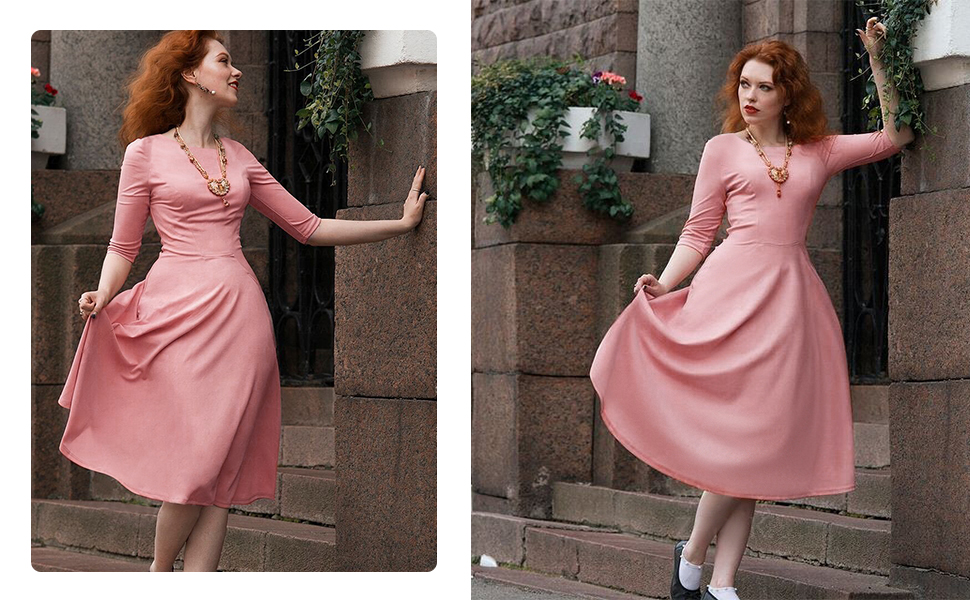 Spring Swing A Line Tea Length Dress