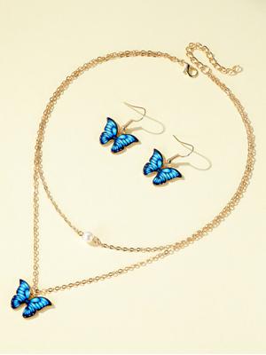 butterfly necklace earrings