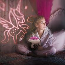 Regalos Niña 1-12 años,Lámpara de proyector de unicornio y ...