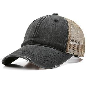 Doannotium Ponytail Baseball Cap Distressed Washed Cotton Dad Hat Women Unconstructed Trucker Hat