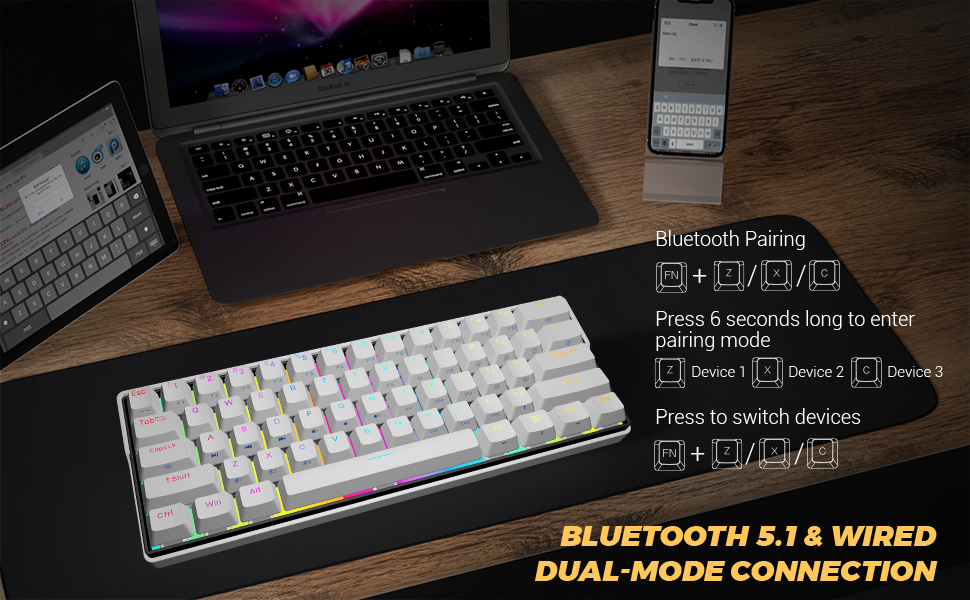 bluetooth 5.1 three devices wireless bluetooth 5.1 type c hot swappable switch RGB Kemove WIN MAC