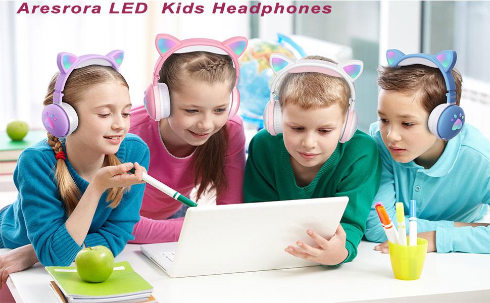 Cat Ear Kids Headphones with LED Light