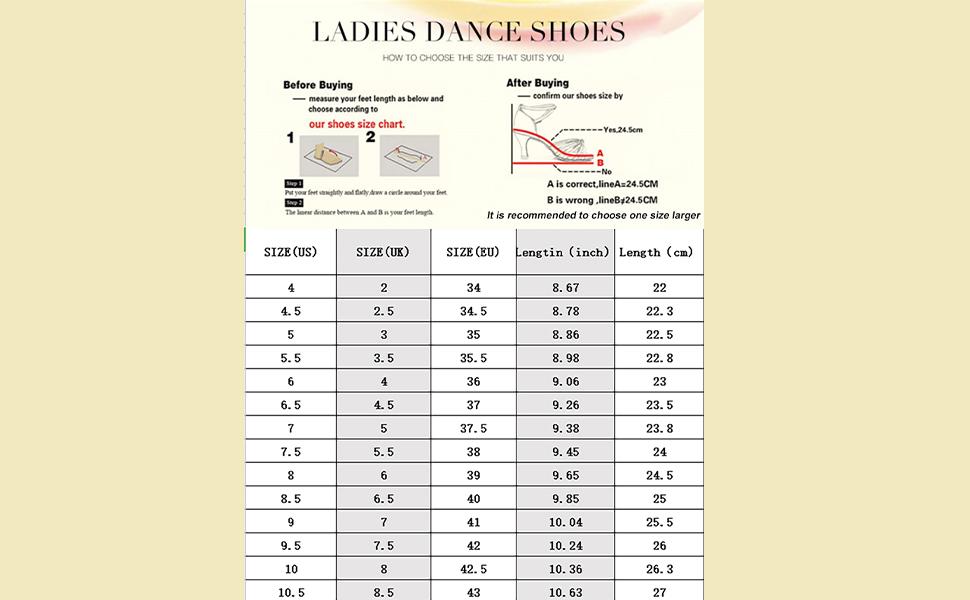 Dance shoes size