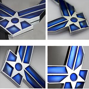 Gift 4 Free Air Force Logo Tire Valve Stem Caps 9527 US Air Force Premium Emblem Dsycar 3D Metal Blue Wing US Air Force Premium Car Body Side Fender Rear Trunk Emblem Badge