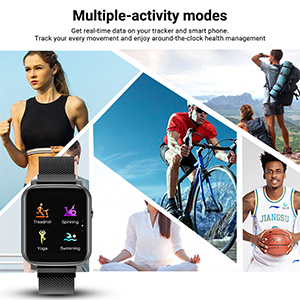 smart watch  Anmino Smart Watch with Heart Rate Monitor BP Fitness Tracker IP68 Waterproof Activity Tracker Full Touch Screen Smartwatch Sleep Monitor Calorie Step Counter SMS Call Notification(Black Steel) 8b2d6806 ccd8 4e8e 82c6 f53d9d6f8df3
