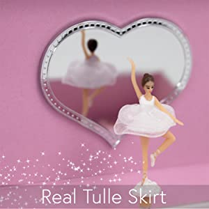 Twirling Ballerina with a tulle skirt inside a music box for girls aged 3 4 5 6 7 8 9 10 11